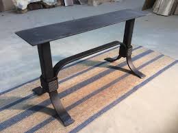 flat black metal table base coffee table