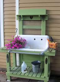 garden sinks. Potting Bench Made From Old Items Including Door, Sink \u0026 Door Knob Garden Sinks
