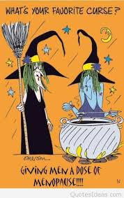 funny halloween image with witches conversation