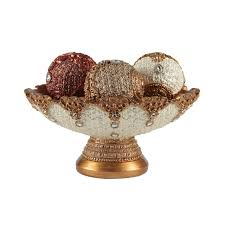 Decorative Bowl With Orbs Eyecatching Decorative Bowl and Orb Set includes Three Balls 1