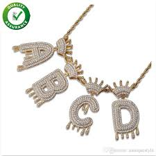 whole iced out pendant hip hop jewelry mens luxury diamond vine crown english letter tel pendants with rope chain women wedding accessories long