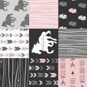 Pink And Black Fabric Wallpaper Gift Wrap Spoonflower
