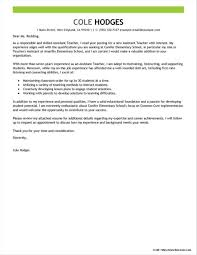 Free Sample Cover Letters For Teachers Assistant Cover Letter