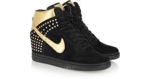 nike dunk sky hi suede and metallic leather wedge sneakers in black lyst