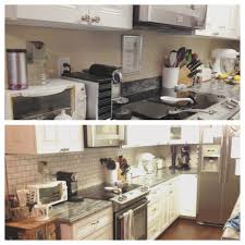 Before and after DIY kitchen backsplash Our Home