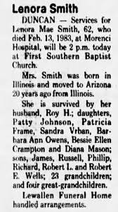 Obituary for Lenora Smith (Aged 62) - Newspapers.com