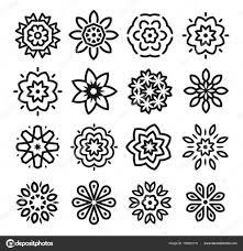 線形の花のロゴを設定しますモノクロのシンプルなライン アートのロゴ