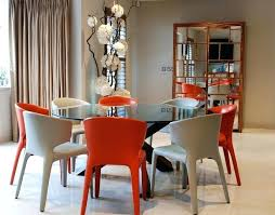 gl round dining table with colorful chairs room stone base stylish tables