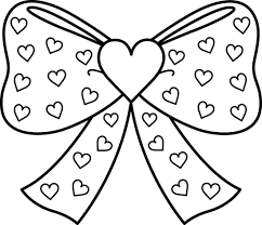 Small Picture Bow with Hearts Coloring Page Free Clip Art