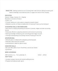 Resume Objective For College Student Best Of Accounting Student Resume Training Internship College Credits Resume