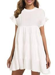 MIHOLL <b>Women's</b> Casual Summer Ruffle Babydoll Loose <b>Mini Dress</b>