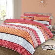 dreamscene duvet cover with pillowcase polycotton bedding set single double king orange patterned duvet cover uk