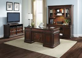 executive credenza and hutch with poplar solids cherry birch in cognac finish
