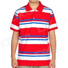 fashion horizontal stripe short sleeves polo shirt t shirt red white blue size l