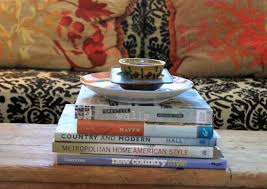 stacked book table