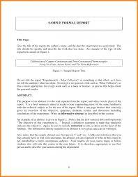 Sample Of Report Writing And Formal Format How To Write Cover