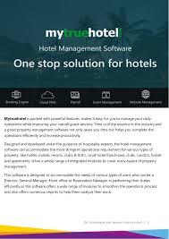 Mytruehotel Brochure Hotel Management Software Brochure