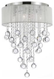 flush mount 4 light chrome and white shades crystal chandelier