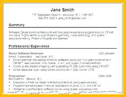 Sample Summary Of Resume