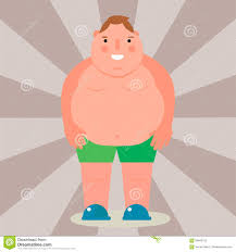 Fat Man Character Design Fat Man Vector Flat Illustration Overweight Body Person
