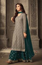 New Suit Design Pic Gray And Teal Embroidered Palazzo New Ladies Suit Designs