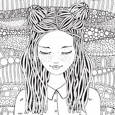 Cute Girl Coloring Book Page For Adult And Children Black And White