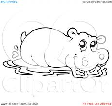 Clipart Hippo Coloring Graphics Illustrations Free Download On
