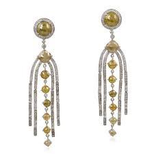 925 white gold plated ice designer diamond chandelier earring
