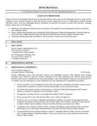 Sample College Professor Resume A Good Resume Example