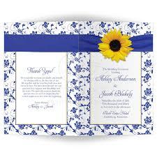 Wedding Ceremony Program Cover Wedding Program Cover Sunflower Royal Blue Damask