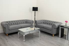 fabric chesterfield sofa. Delighful Fabric Canterbury Grey Linen Fabric Chesterfield Sofa Suite 3 And 2 Seater Intended