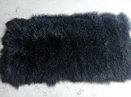 lamb fur rugs curly hair sheep plates black blanket mongolian rug blue