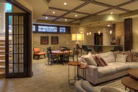 basement ideas for family. Cozy Family Room Basement Remodeling Ideas With Hidden Ceiling Lamps And Grey Sofa Very Inspiring For