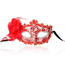 Miniature Masquerade Masks Decorations Red Fancy Masquerade Lace Party Venetian Profile Flower Half Face 30