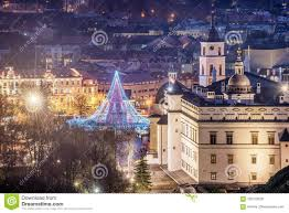 Cathedral Square Park Christmas Lights Vilnius Lithuania Christmas Tree And Decorations In