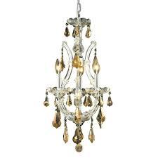 elegant lighting 4 light chrome chandelier with golden teak smoky crystal
