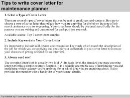 ... 3. Tips to write cover letter for maintenance planner ...