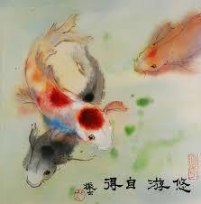 james wu chinese painting fish kois
