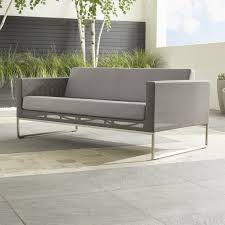Dune outdoor furniture Concrete Crate And Barrel Dune Taupe Sofa With Sunbrella Cushions Reviews Crate And Barrel