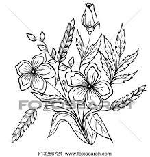 整理 の 花 黒 White アウトライン 図画 の ライン クリップアート切り張りイラスト絵画集