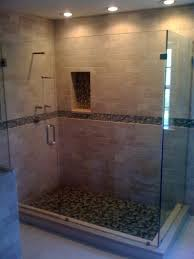 frameless glass shower l shaped design with clips