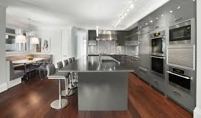 Wondrous Grey Granite Countertops With Large Kitchen Island Added - Wood floor in kitchen
