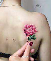 фото татуировки пион в стиле акварель реализм цветная татуировки