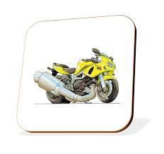 k1320 cst koolart gifts cartoon suzuki sv650 motorcycle wooden coaster for cups mugs motorbike gifts gift ideas amazon co uk car motorbike