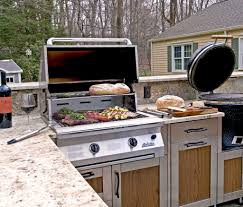 Cute Outdoor Kitchen Cabinets Come With Stainless Steel Double ...