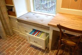 built cabinets under window seat