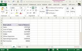 operating statement format create an income statement with a pivottable excel university