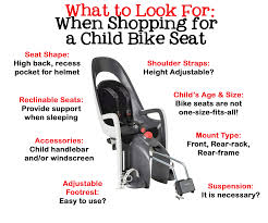 collage showing what to look for when ping for a child bike seat seat shape