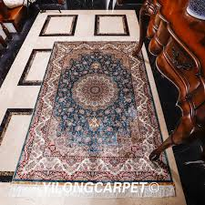 yilong 4 x6 hot classical persian design hand knotted silk rug decoration hand made indian rug