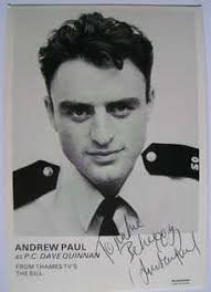 """The Bill cast card hand-signed by Andrew Paul (P.C. Dave Quinnan) measuring approximately 6"""" x 4"""" (Dedicated); £12.99 - 228x315"""